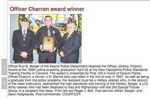 Officer Charron Award Winner 2016
